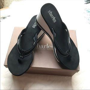 Charles David Wedge Flip Flop Sandal thong 7.5